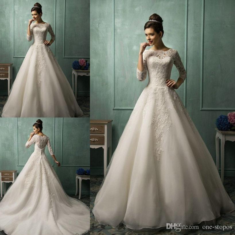 2016 Wedding Dresses Amelia Sposa High Neck Sheer 3/4 Long Sleeve ...