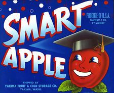"""SMART APPLE"" RARE ORIGINAL 1950s YAKIMA WASHINGTON AUTHENTIC FRUIT CRATE LABEL"