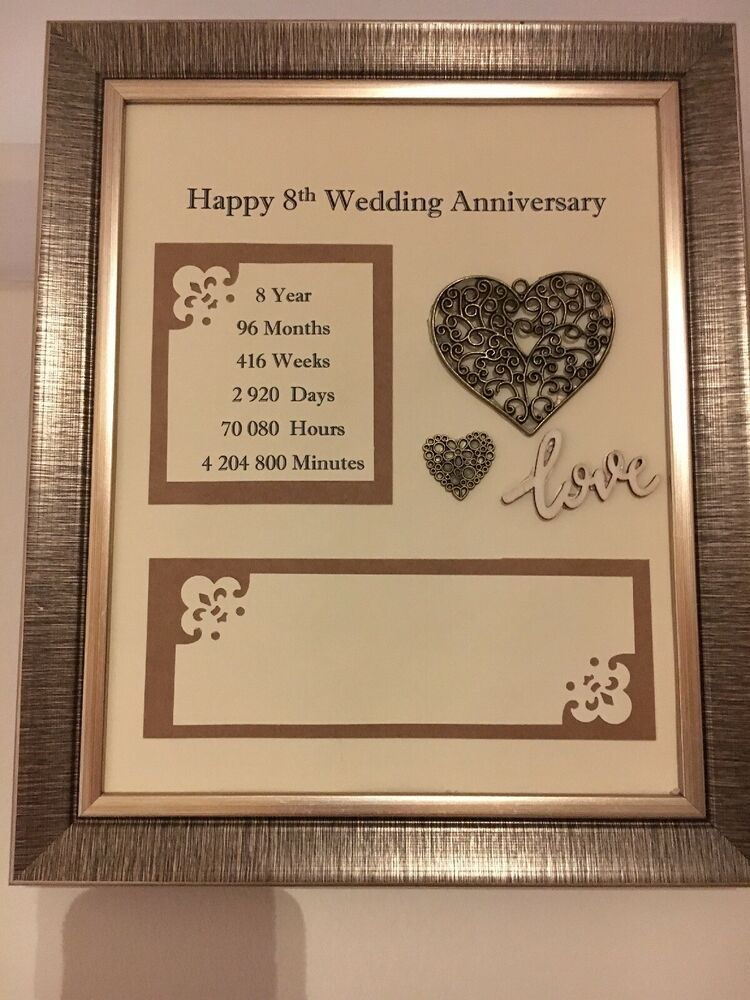 8th Wedding Anniversary Frame Rustic Gift Bronze 3D