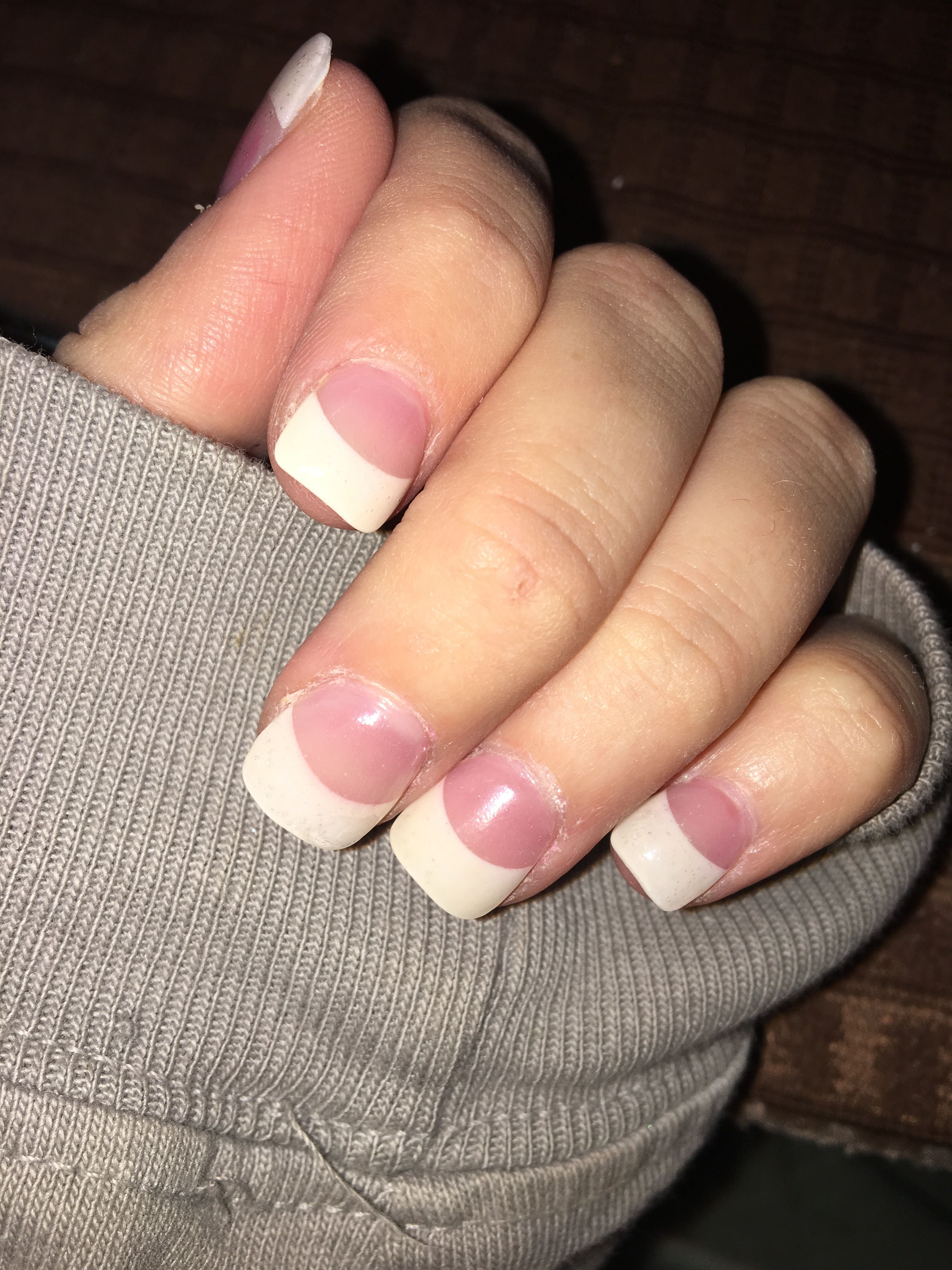 Short Thick Tipped French Manicure Personal Fav Will Be My Wedding Nails French Acrylic Nails Short French Tip Nails Short Acrylic Nails