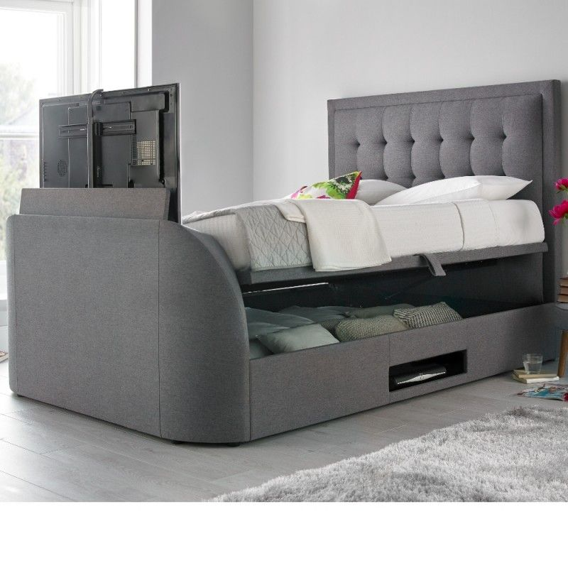Fine Metro Grey Fabric Ottoman Tv Bed 5Ft King Size Bedroom Andrewgaddart Wooden Chair Designs For Living Room Andrewgaddartcom