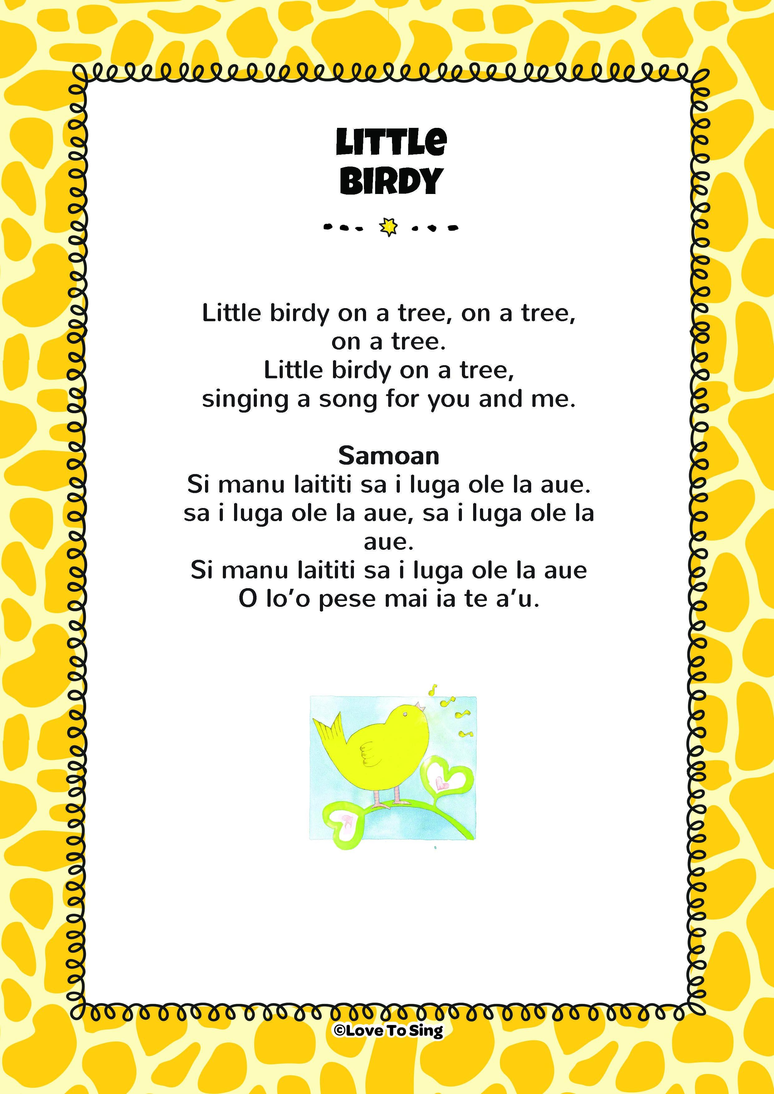Little Birdy on a Tree Free lyrics, Kids video songs