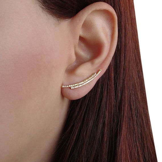 Yellow Gold Plated Sterling Silver Long Bar Crawler Climber Earrings