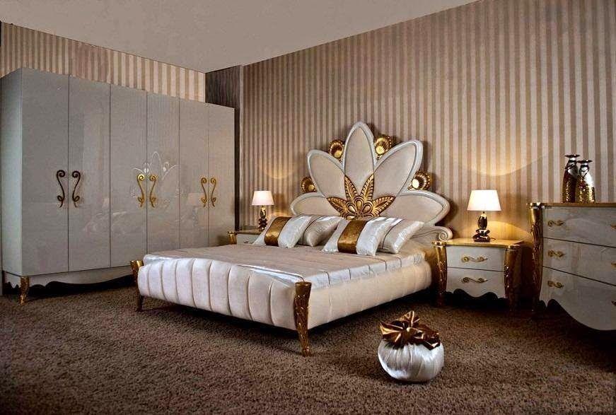 Royal Gold In White Bedroom Furniture Set White Bedroom Set