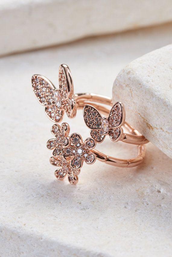 18K Or Rose Sur Argent Sterling Diamant Accent Butterfly Collier /& Boucles D/'oreilles