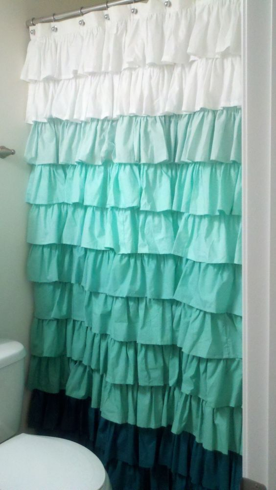 Ombre Ruffled Shower Curtain From White To Teal