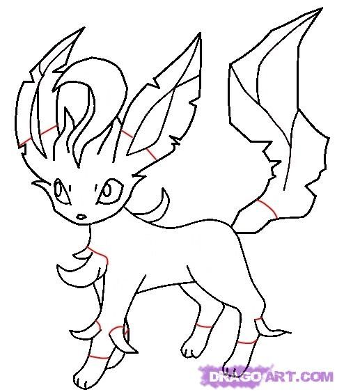 how to draw leafeon from pokemon step 6 | Pokemon drawings ...