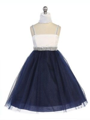 a36db21a7 Lovely Navy Tulle Overlay Skirt Flower Girl Dressess (Available in Sizes 2-20  in 3 Colors)