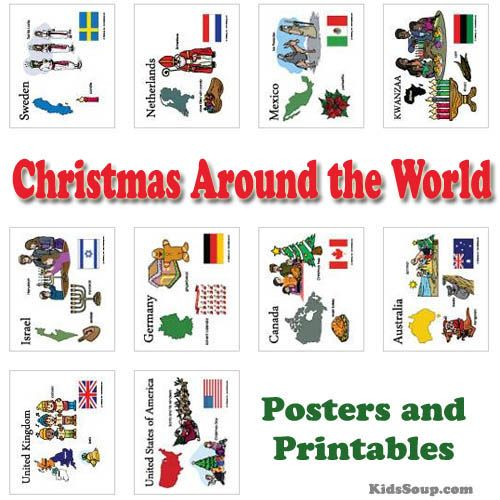 Christmas Around The World Posters Coloring Pages And