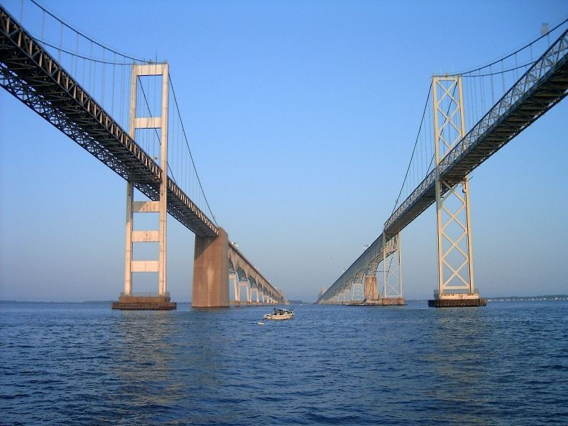 Chesapeake Bay Bridge-Tunnel - Maryland/ Virginia, USA / Chesapeake Bay Bridge that connects Norfolk Virginia to Wilmington Delaware, is17.6 miles long.  It is 4 lanes above water and 2 lanes when it goes under the Atlantic Ocean.  It is from 40 feet to 75 feet when under the ocean.