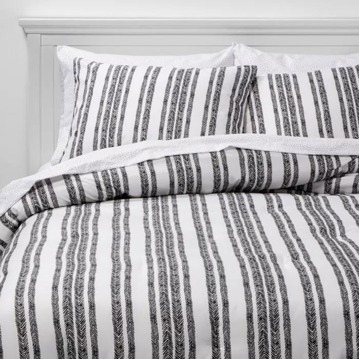 Bed In A Bag Black White Herringbone Printed Microfiber With Black Dot Sheets Room Essentials In 2020 Bedding Sets Room Essentials Boys Black And White Bedroom