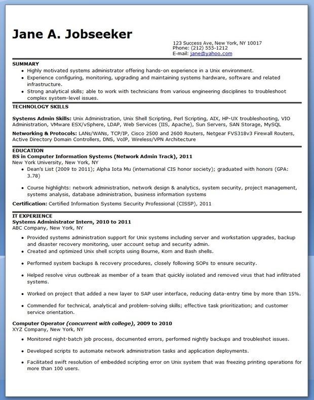 Systems Administrator Resume Sample Entry Level  Creative Resume