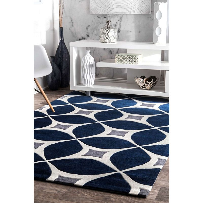 Nuloom Hand Tufted Gabriela Contemporary Rug Navy Blue And Grey