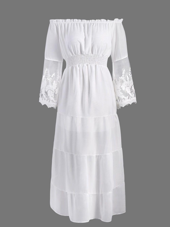 Off the shoulder lace panel maxi dress wedding pinterest maxi