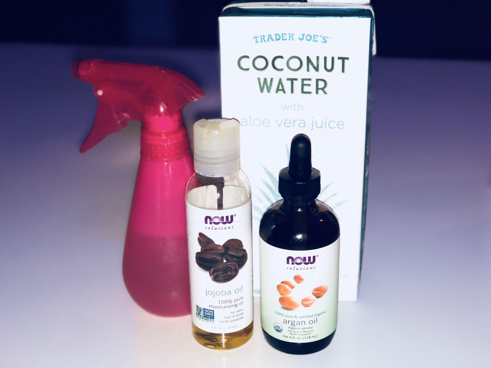 All natural coconut water moisturizing hair spray