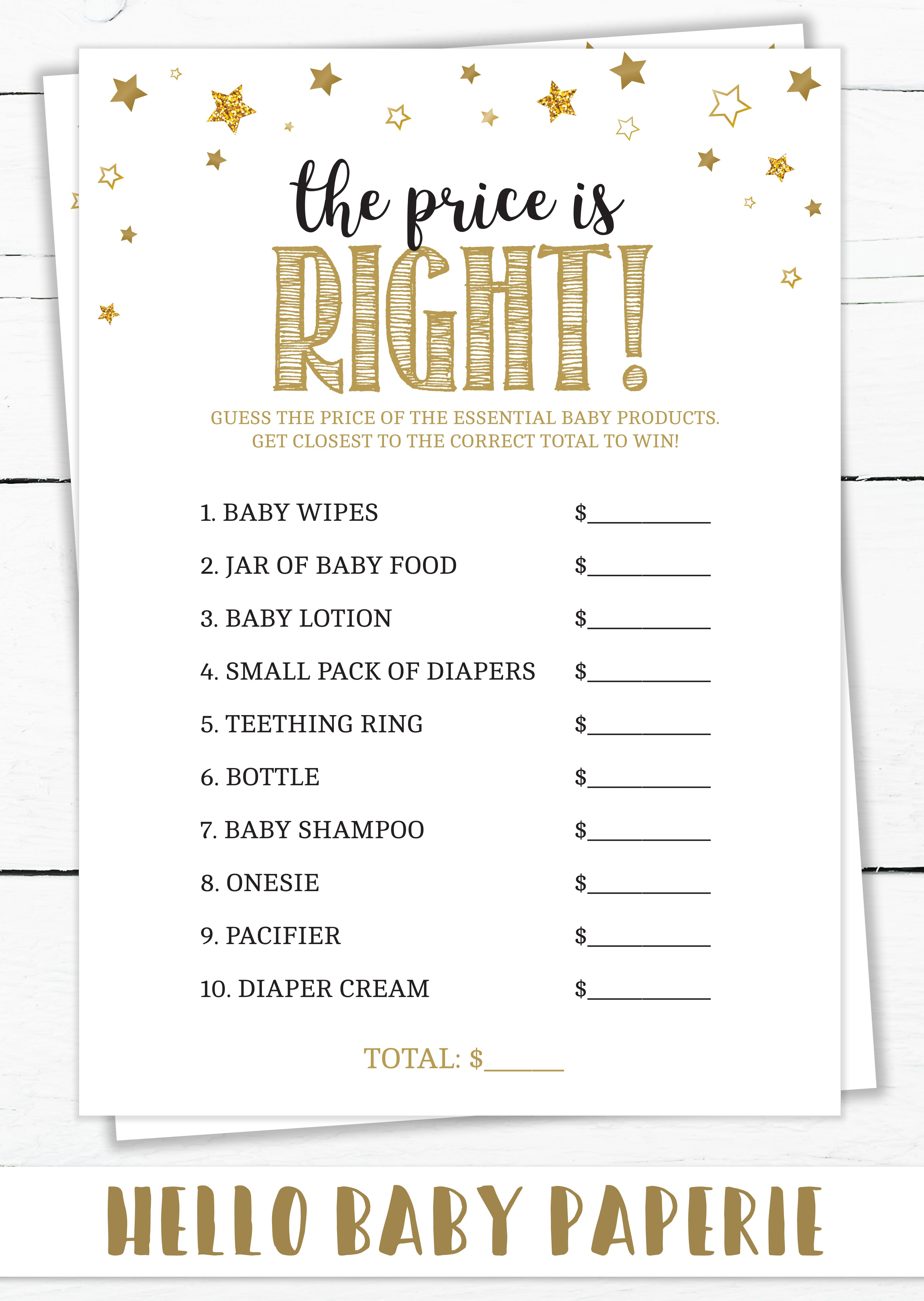 The Price is Right Baby Shower Game, Twinkle Twinkle