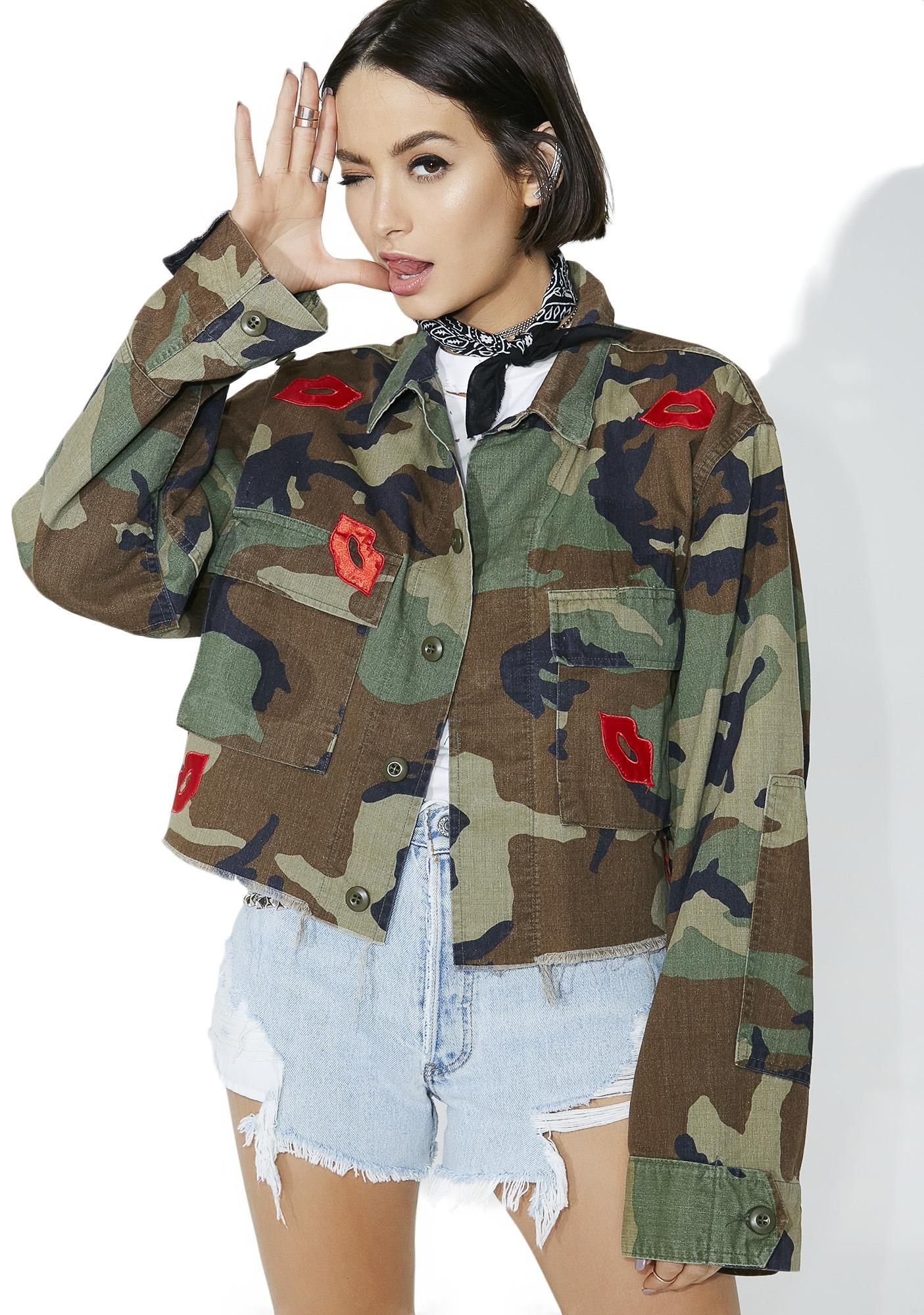 f5c8728f161df American Vintage Lip Patches Camo Jacket yew know yer gonna break some  hearts, babe. Blow 'em a kiss in this jacket that features a green camo  print ...