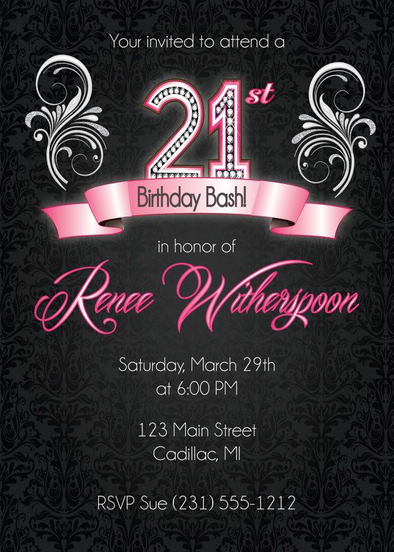 21st birthday invitation 21st birthday party invitation silver