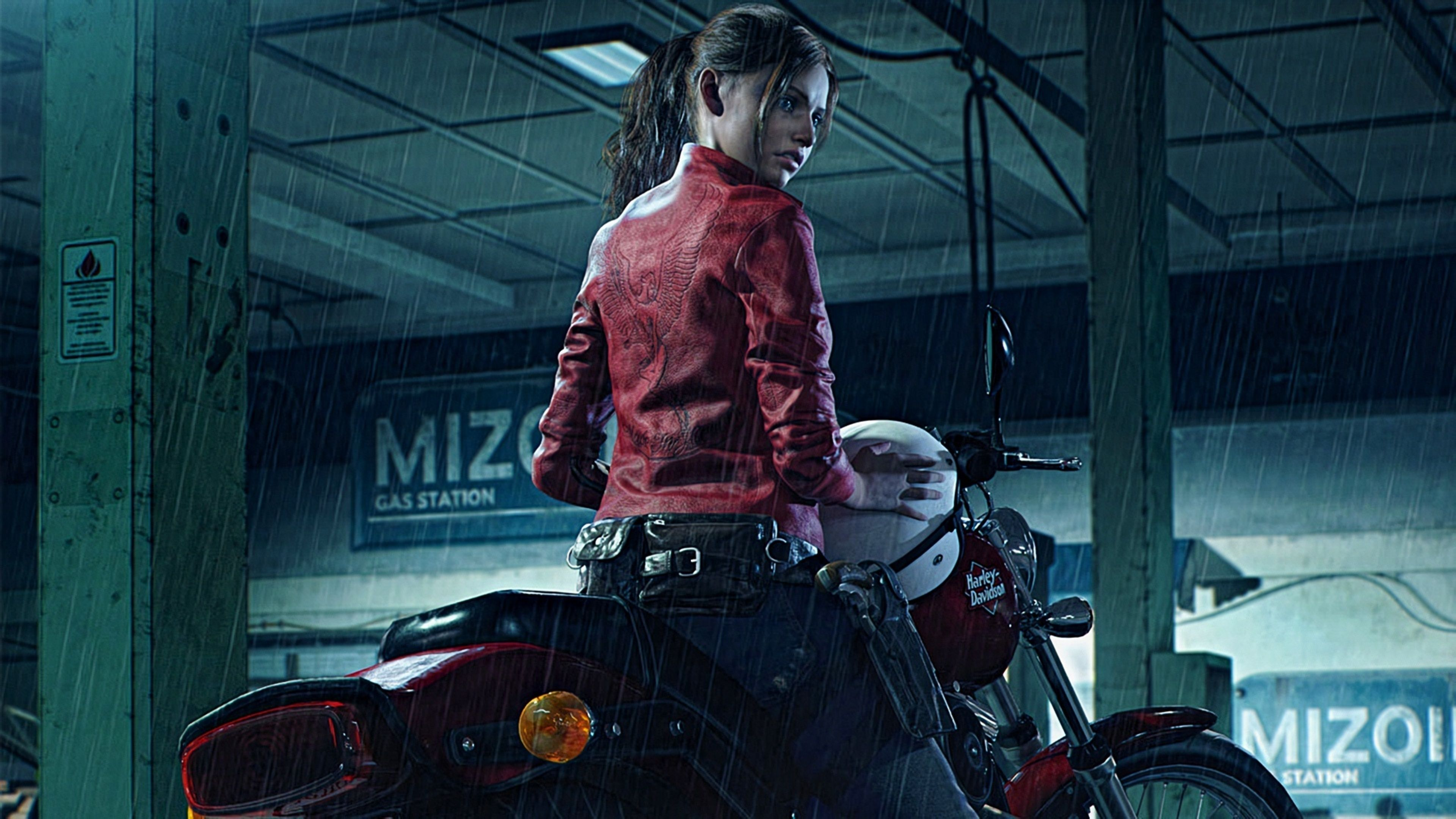 Resident Evil 2 2019 Claire Redfield Harley Davidson Resident Evil 2 Wallpapers Hd Wallpapers Games Wallp Resident Evil Resident Evil Girl Resident Evil Game