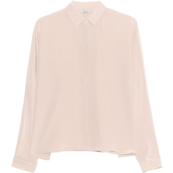 iHEART Sanni Soft Vanilla // Silk blouse (€229) ❤ liked on Polyvore featuring tops, blouses, loose blouse, pink silk blouse, pink silk top, silk top and pink top