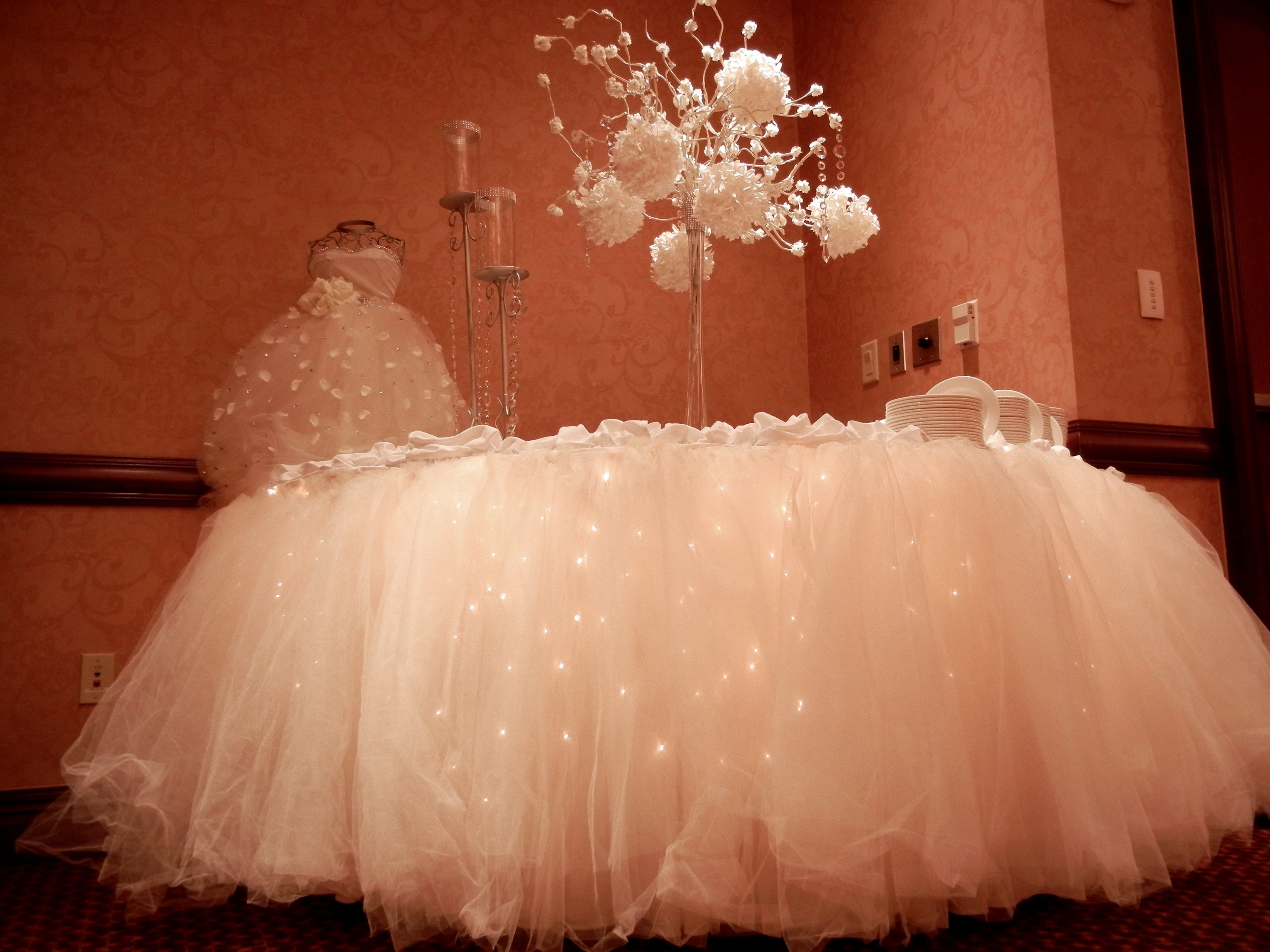 Wedding Cake Table with White Lights and Tulle // Embassy Suites Hampton Roads Mercury Ballroom