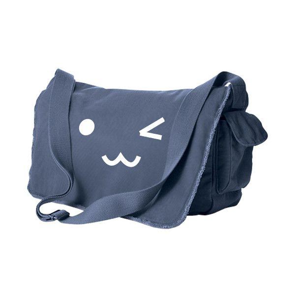 Kawaii Face Messenger Bag ($46) ❤ liked on Polyvore featuring bags, messenger bags, blue, lullabies, merch, strap bag, blue laptop bag, long messenger bag, blue messenger bag and long strap bags