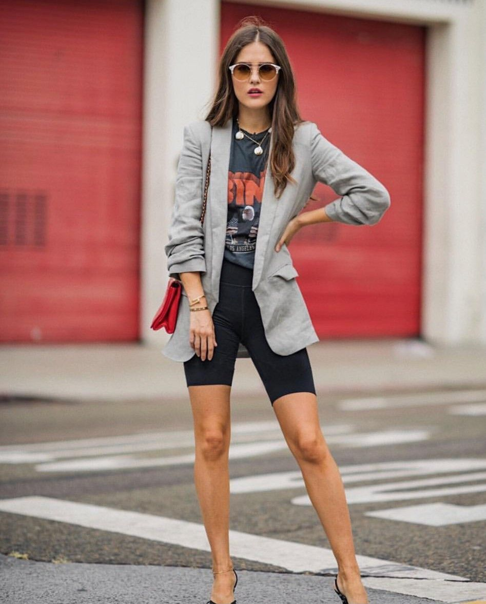 Street style! Biker shorts and blazer! #chic #yourstyle | Trendy summer outfits, Bike shorts outfit, Top spring outfits