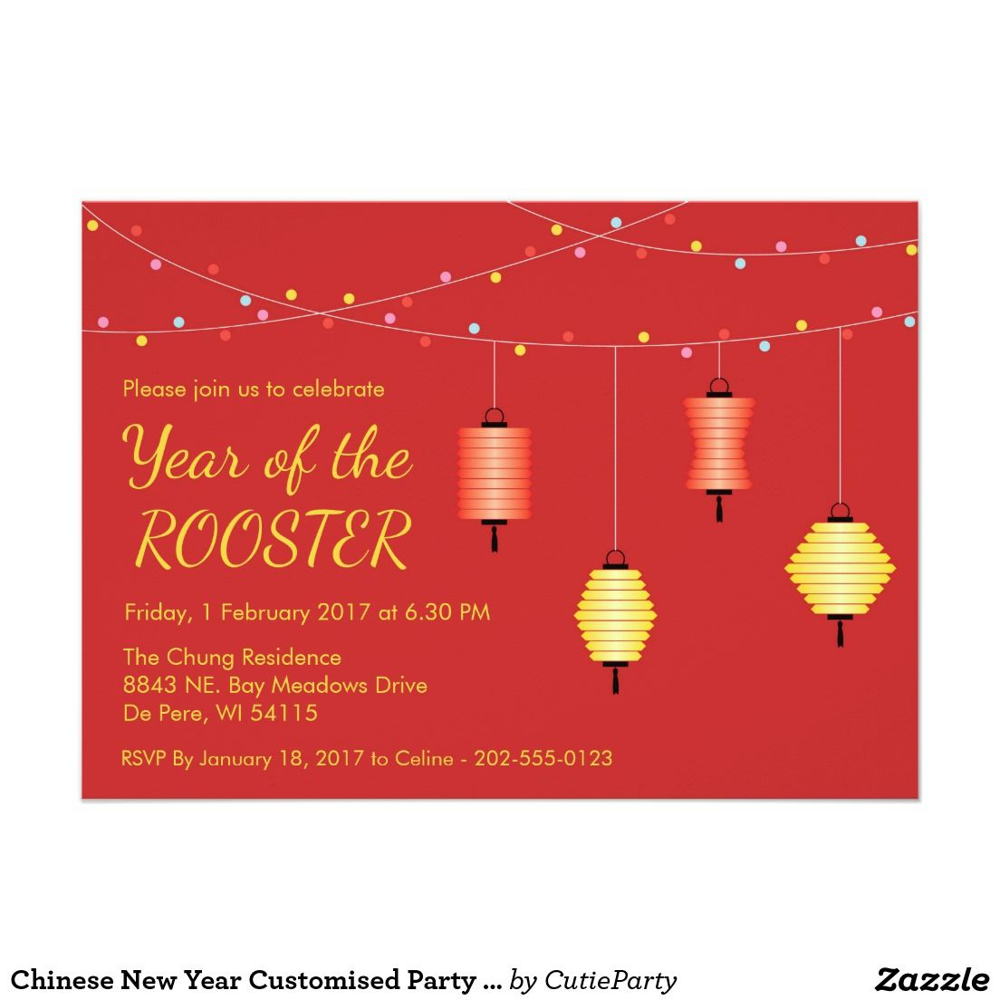 Chinese New Year Customised Party Invitation | Chinese New Year ...