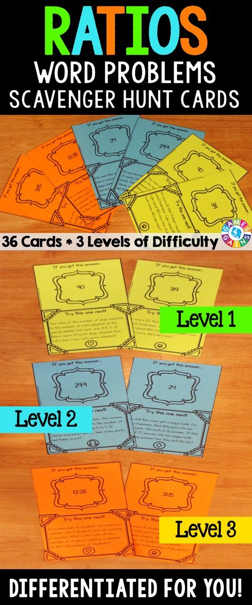 Ratios Activities Ratios Word Problems Task Cards 6rp1 6rp3