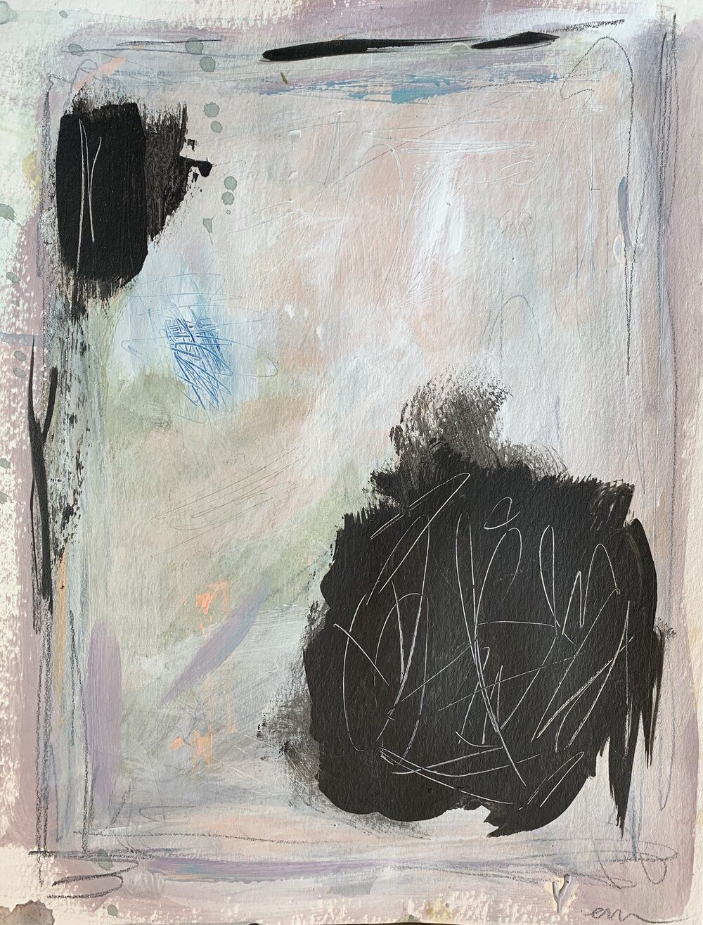 9 X 12 Mixed Media On Paper Oil Acrylic Graphite P Artwork Art Painting