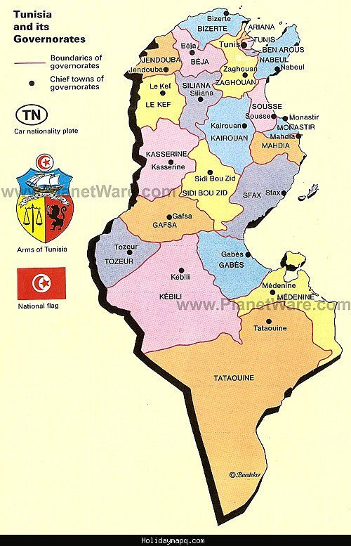Map Of Tunisia Tourist Bizerte Tunisie Mahdia