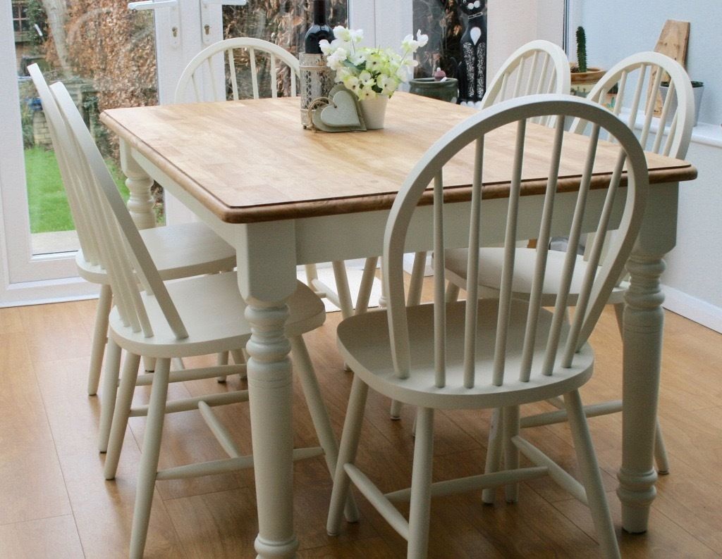 A Truly Stunning Pine Farmhouse Table And Six Hooped Back Chairs Professionally Painted The Pine Dining Table Dining Table Chairs Pine Dining Chairs