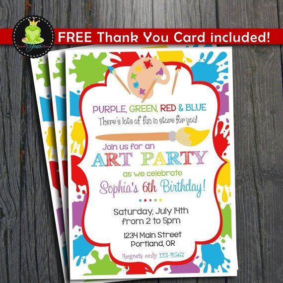 Printable Art Party Invitation Rainbow Paint Party Birthday – Art Party Invitation Templates