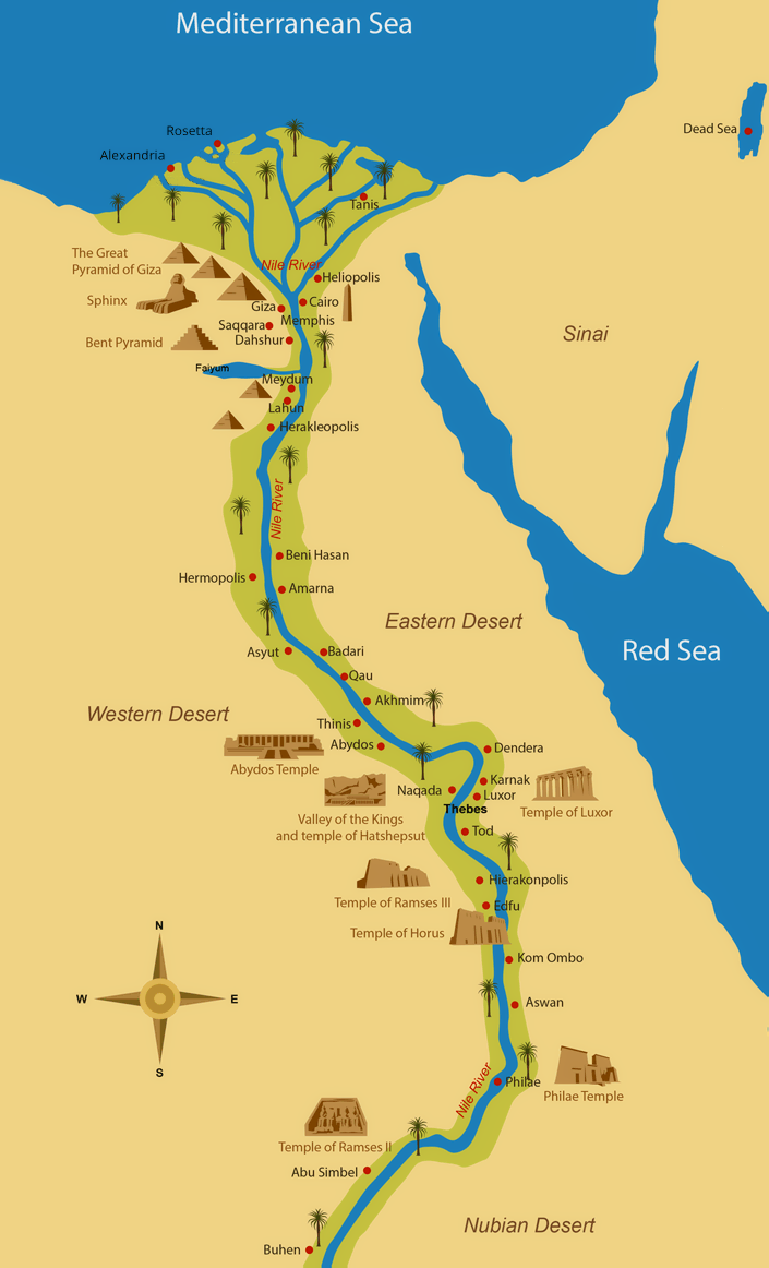Ancient Egypt Map Monuments, ancient Egypt