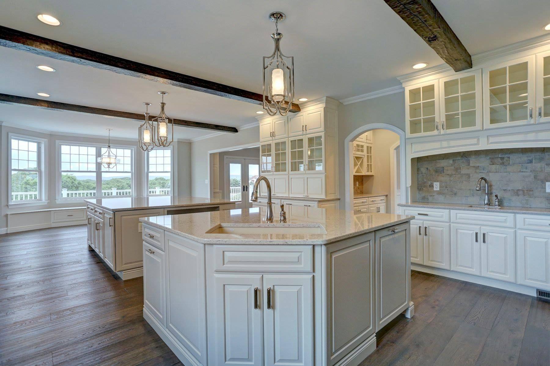 Custom Kitchen floor plan with Amish ceiling beams, custom ...