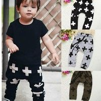 Description Toddler Boy Girls Cotton Harem Pants Casual Trousers Cross Pattern Bottoms 2-6Y  100% Br