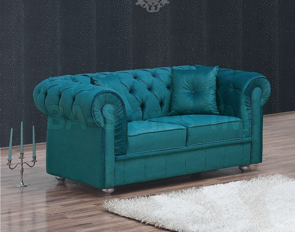 Chesterfield Velvet Turquoise Loveseat Love seats MIL29LS3
