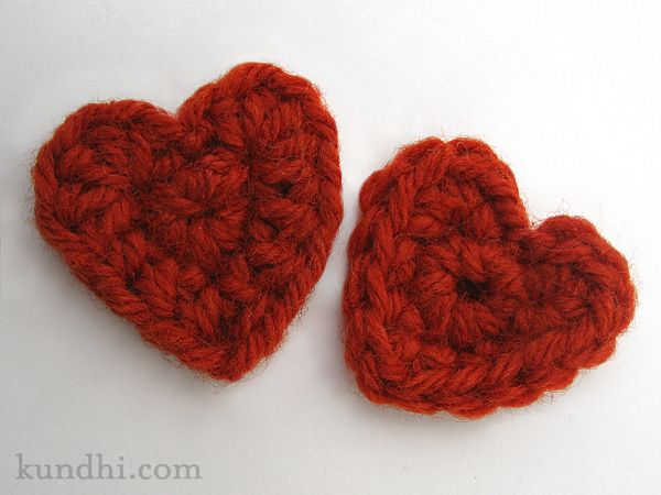 Tiny Crochet Heart Pattern worsted weight yarn size F/5 (3.75mm) crochet hook tapestry needle for weaving ends  hdc: half double croche...