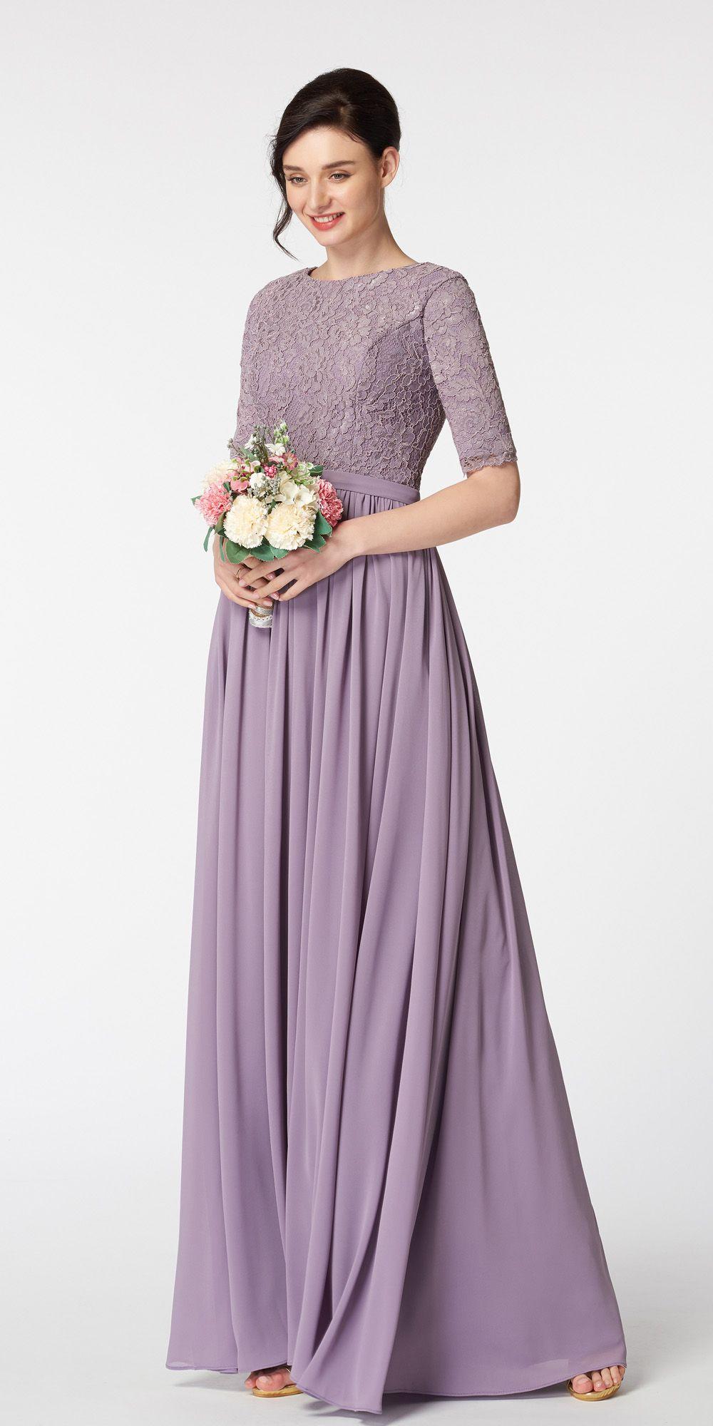 Wisteria Purple Modest Bridesmaid Dress With Elbow Sleeves Modest Bridesmaid Dresses Bridesmaid Dresses With Sleeves Bridesmaid Gown [ 2000 x 1000 Pixel ]