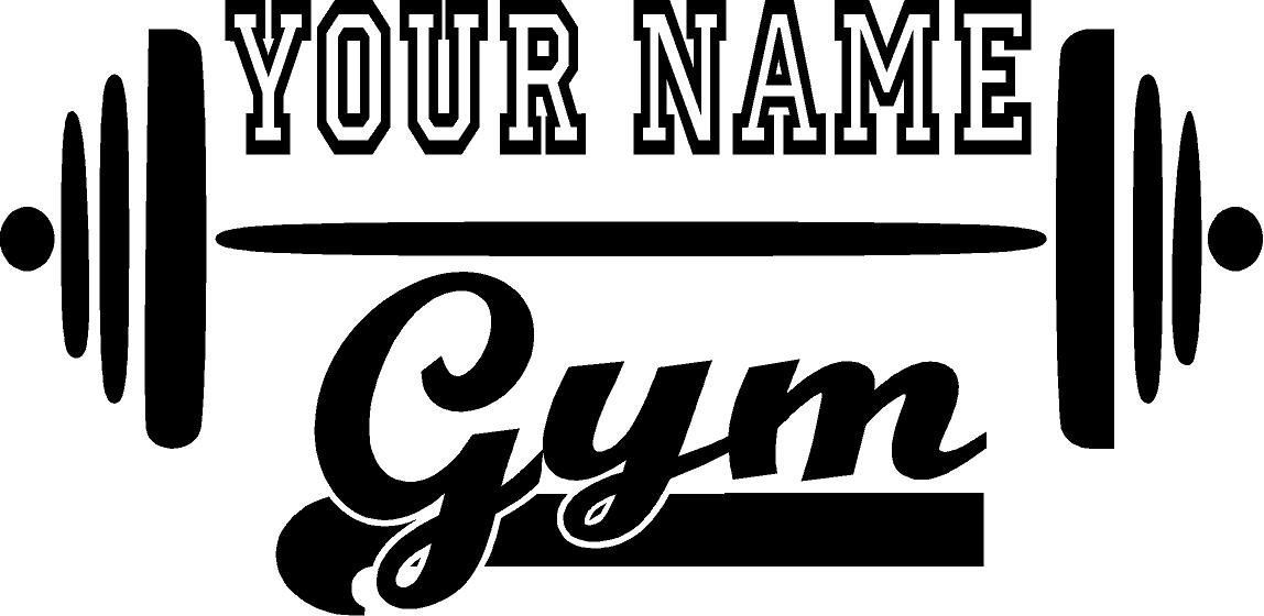 Gym name wbarbell customized vinyl wall decal fitness
