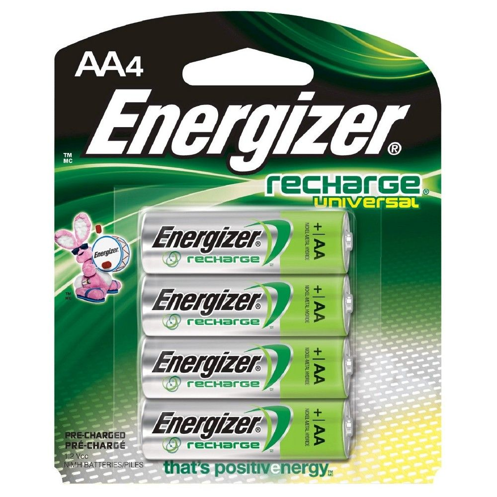 Energizer 4pk Recharge Universal Rechargeable Aa Batteries Rechargeable Batteries Energizer Nimh