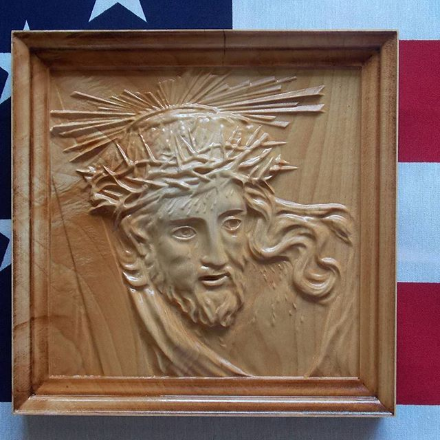 Wood carved Christian wall art