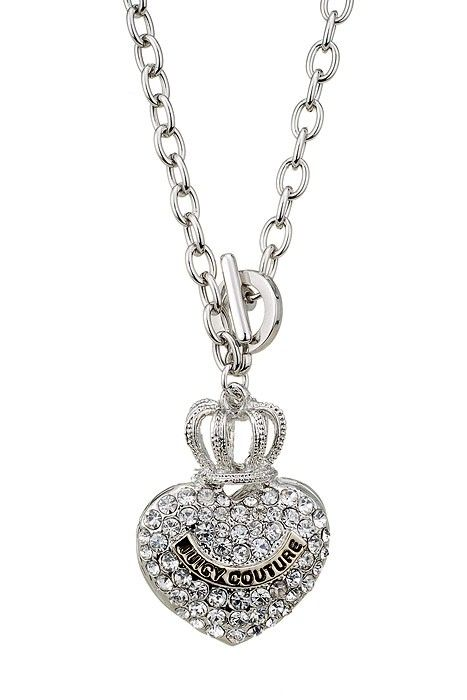 Juicy couture replica crystal studded crown heart pendant silver juicy couture replica crystal studded crown heart pendant silver fine chain necklace aloadofball Gallery