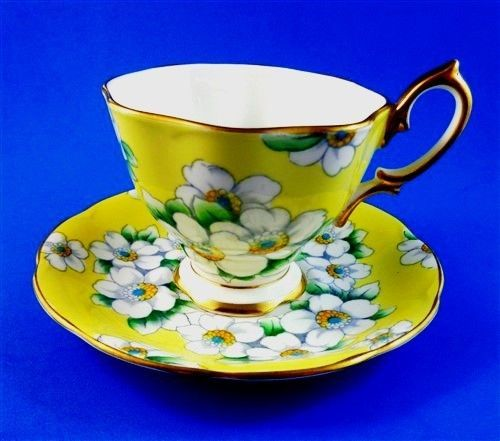 Handpainted White Dogwood on Bright Yellow Royal Albert Tea Cup and Saucer Set