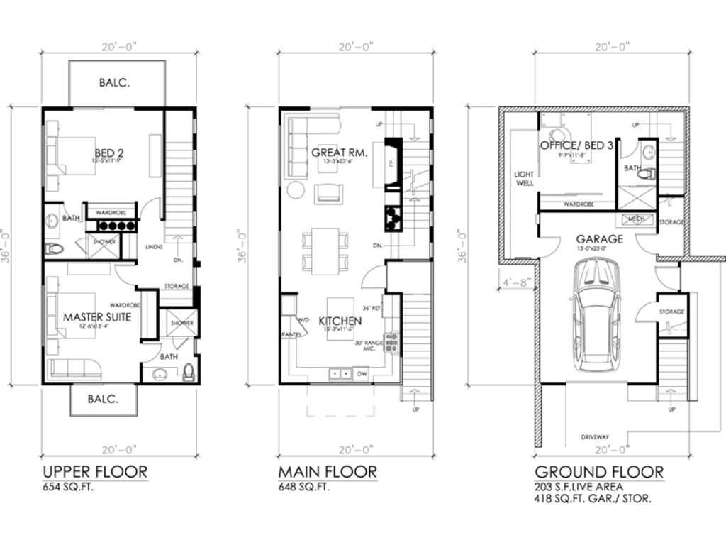 Modern Style House Plan 3 Beds 3 Baths 1505 Sq Ft Plan 484 3 Contemporary House Plans House Plans Modern Style House Plans