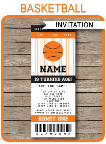 basketball ticket invitation template black orange basket ball