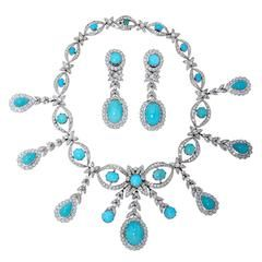 Turquoise Diamond Gold Necklace and Earrings Set