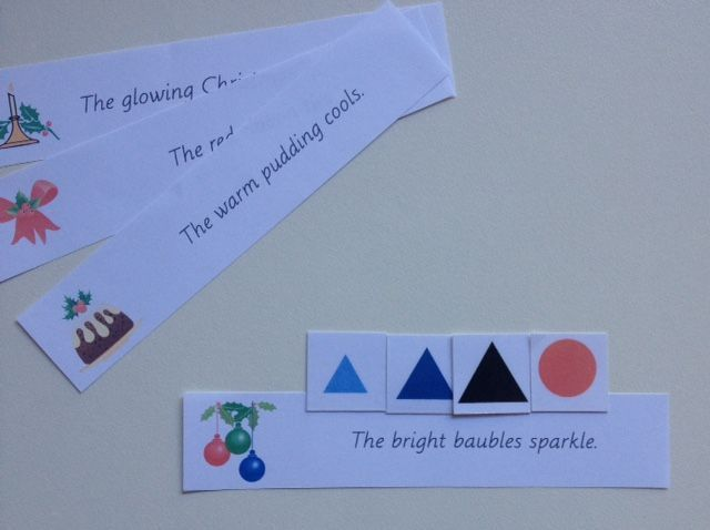 Free Simple Sentence Strips For Symbolic Grammar Christmas Themed