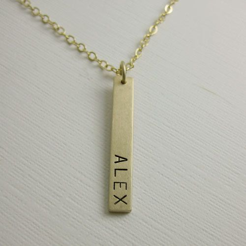Gold Nameplate Necklace Custom 14k Vertical Flat Id Tag Etsy Personalized Gold Jewelry Gold Bar Pendant Nameplate Necklace Gold