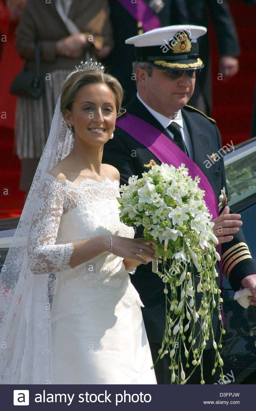 Download This Stock Image Dpa Prince Laurent Of Belgium And His Wife Princess Claire Leave Aft Young Bride Wedding Dresses Registry Office Wedding Dress [ 1390 x 866 Pixel ]